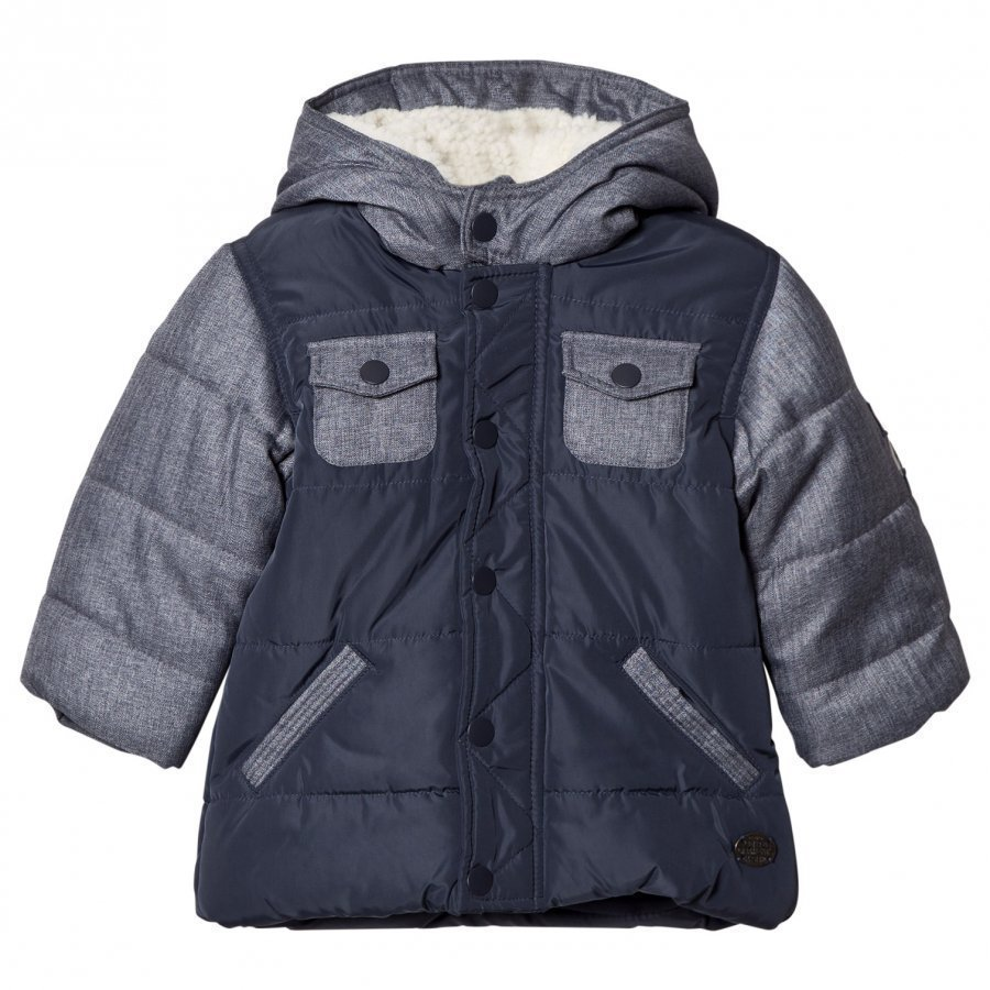 Absorba Blue Denim And Nylon Padded Coat With Fleece Lining Toppatakki