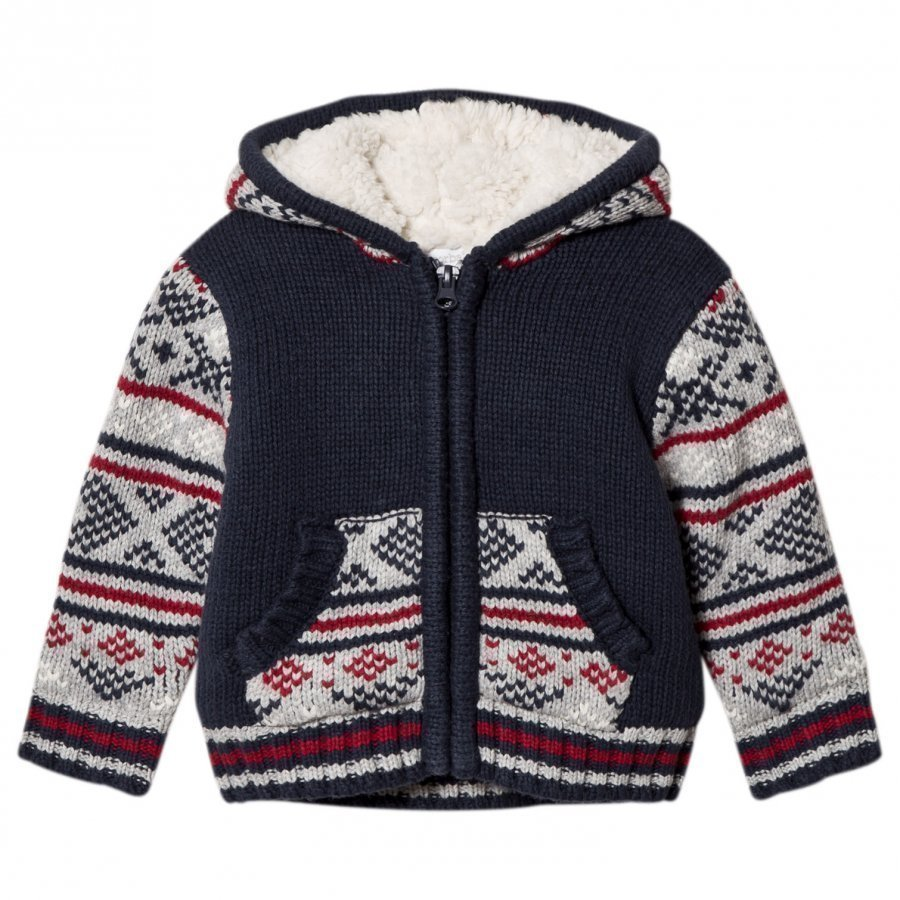 Absorba Blue Fairisle Knit Jacket With Teddy Lining Toppatakki