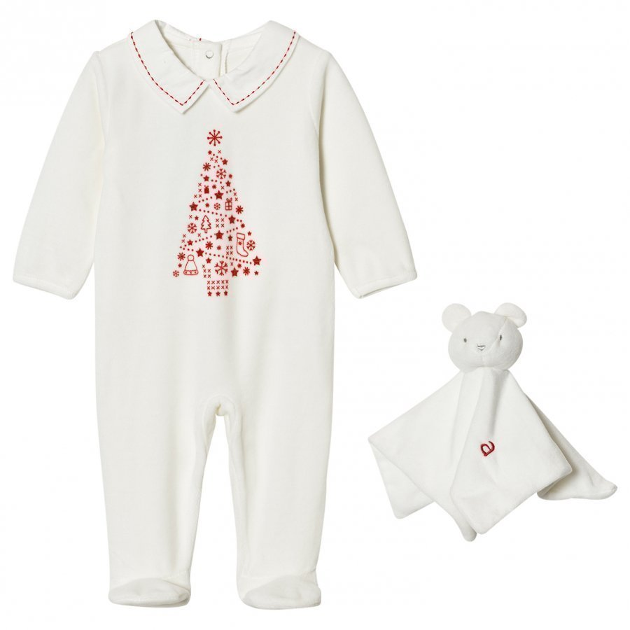 Absorba Cream Christmas Tree Print Velour Footed Baby Body And Comforter Body