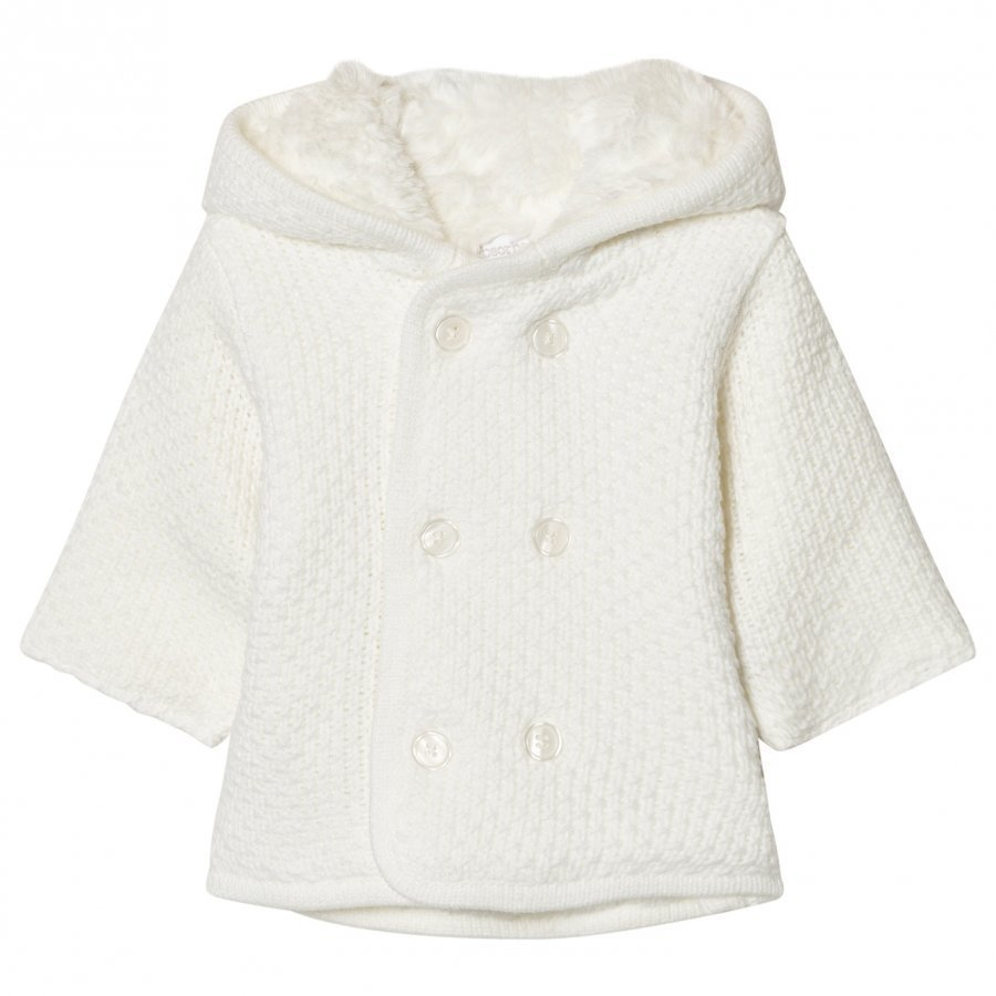 Absorba Cream Knit Hooded Coat With Faux Fur Lining Talvitakki