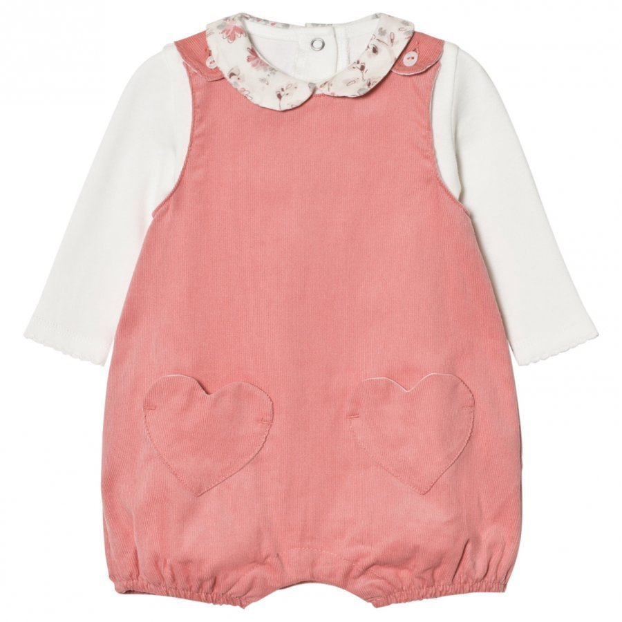 Absorba Cream Tee With Floral Collar And Pink Dungarees Set Lappuhaalari