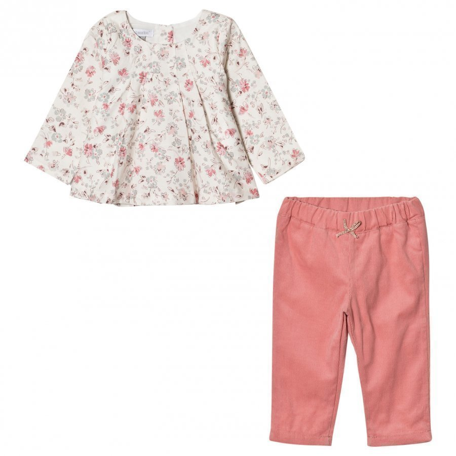 Absorba Floral Blouse And Pink Micro Cord Trousers Kerraston Setti
