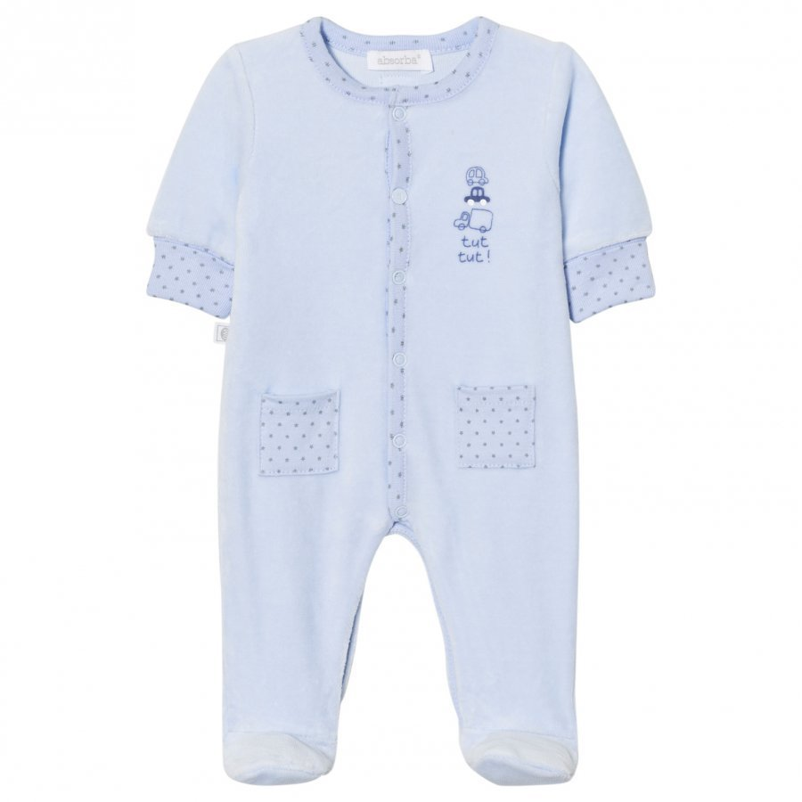 Absorba Footed Baby Body Blue Print Velour Body