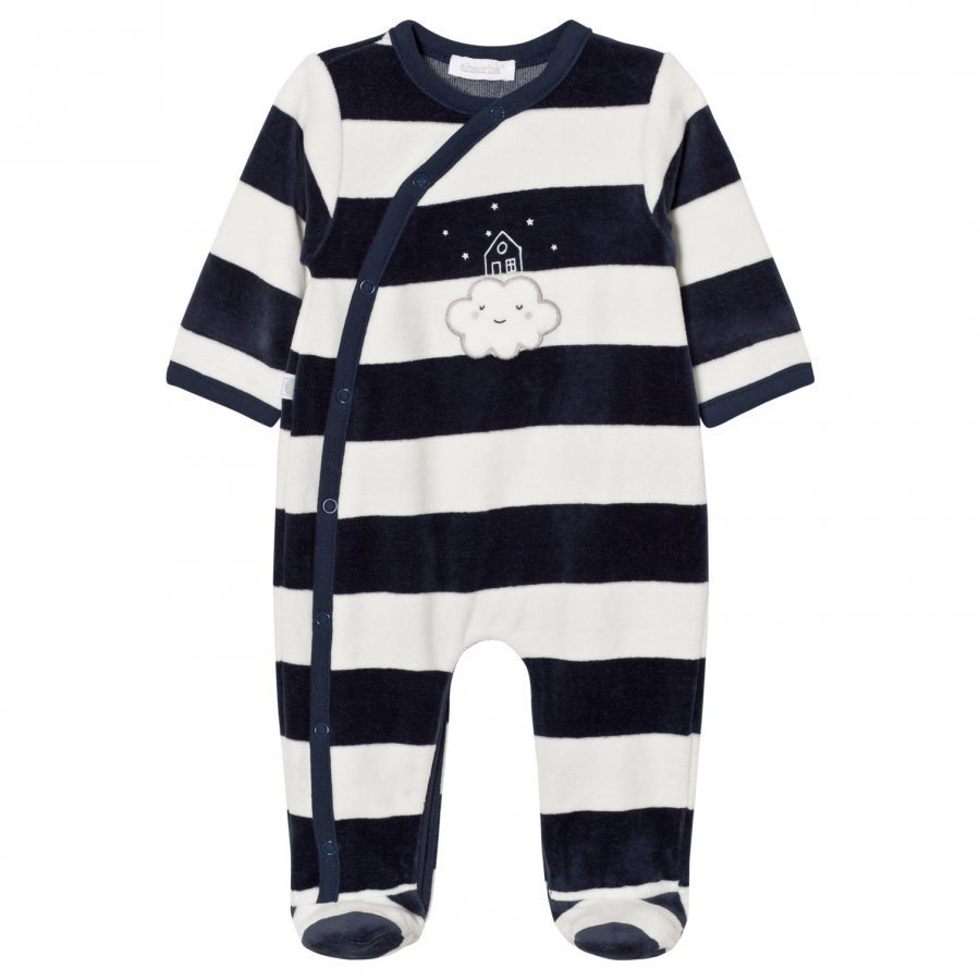 Absorba Footed Baby Body Navy White Cloud Stripe Velour Body