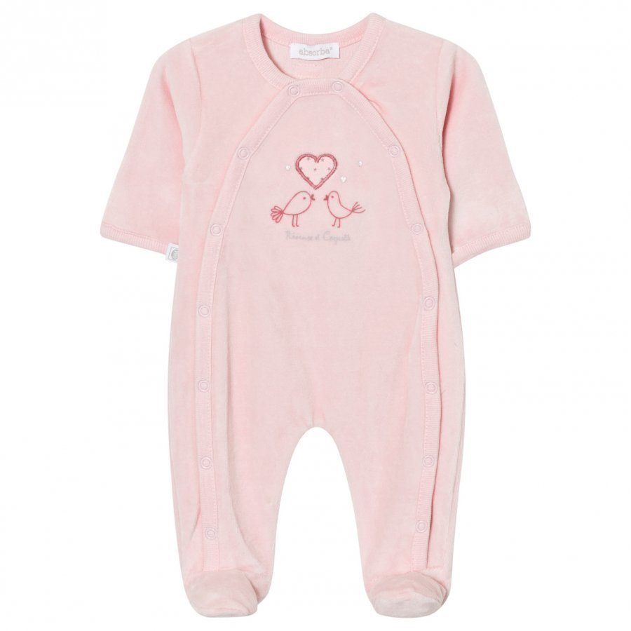Absorba Footed Baby Body Pink Bird Embroidered Velour Body
