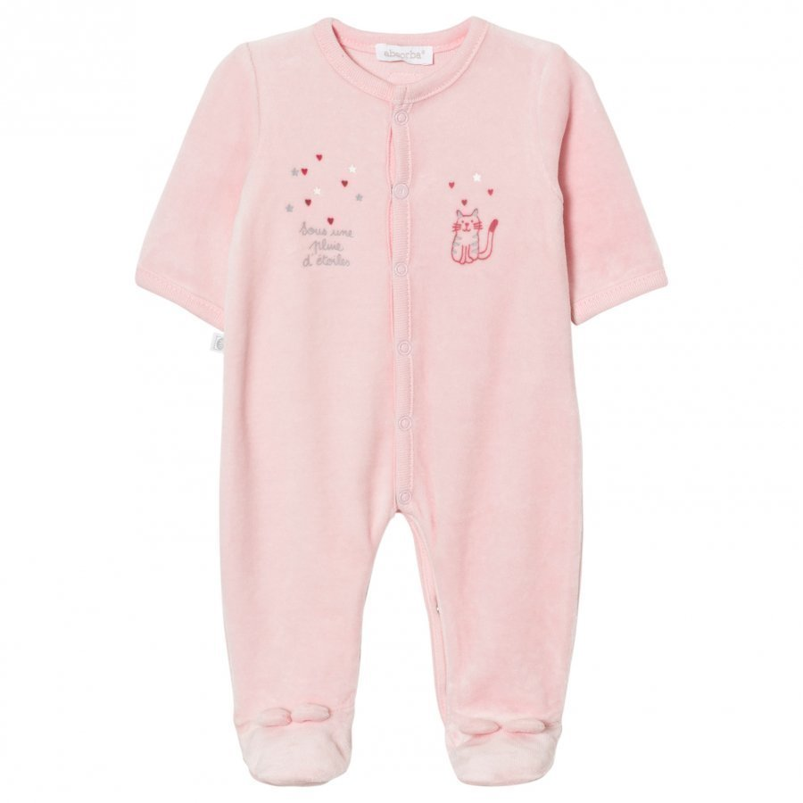 Absorba Footed Baby Body Pink Cat Print Velour Body
