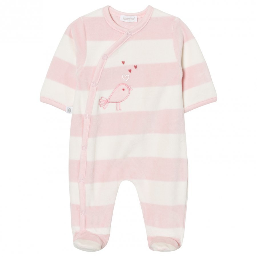 Absorba Footed Baby Body Pink Cream Stripe Velour Body