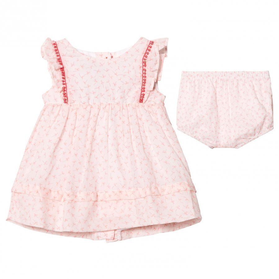 Absorba Light Pink Flower Print Dress With Pom Pom Detail Juhlamekko