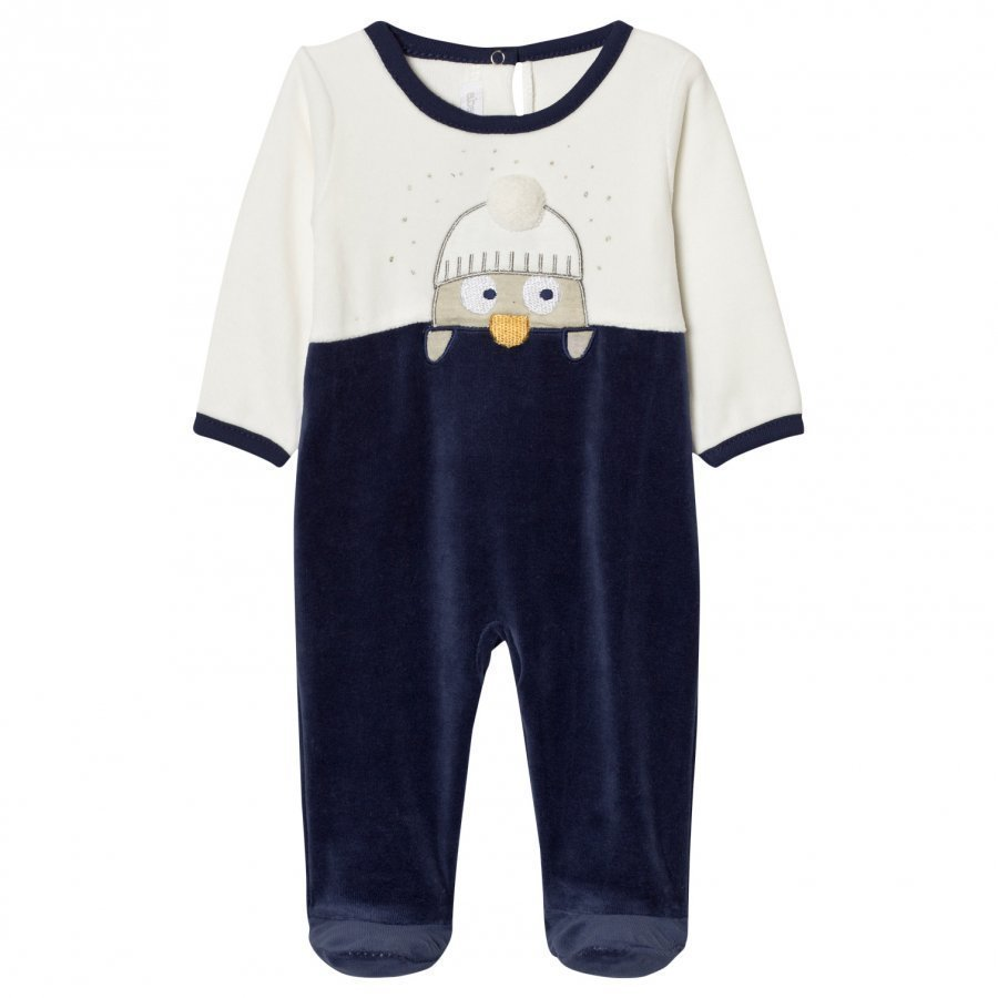 Absorba Navy And Cream Penguin Footed Baby Body