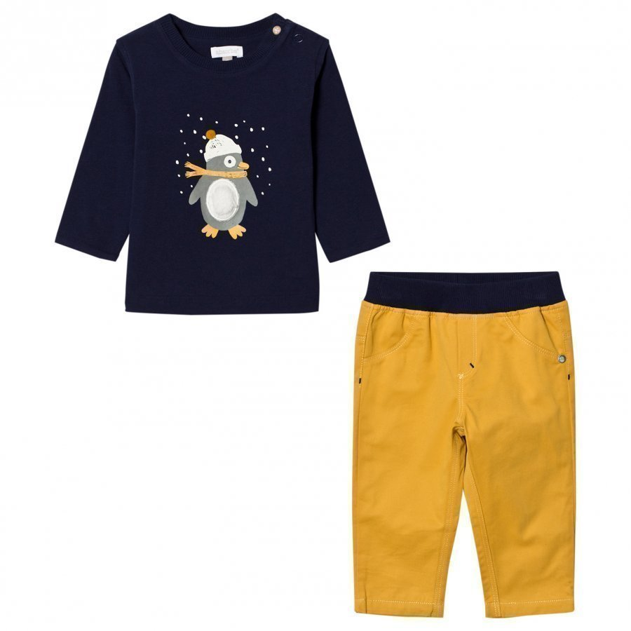 Absorba Navy Penguin Tee And Pants Set T-Paita