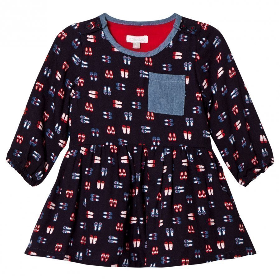 Absorba Navy Shoe Print Dress Mekko