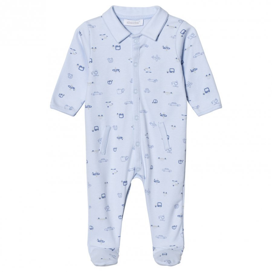 Absorba Pale Blue Car Print Collared Jersey Footed Baby Body