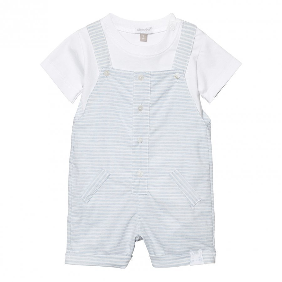 Absorba Pale Blue Stripe Dungaree And White Tee Set Asusetti