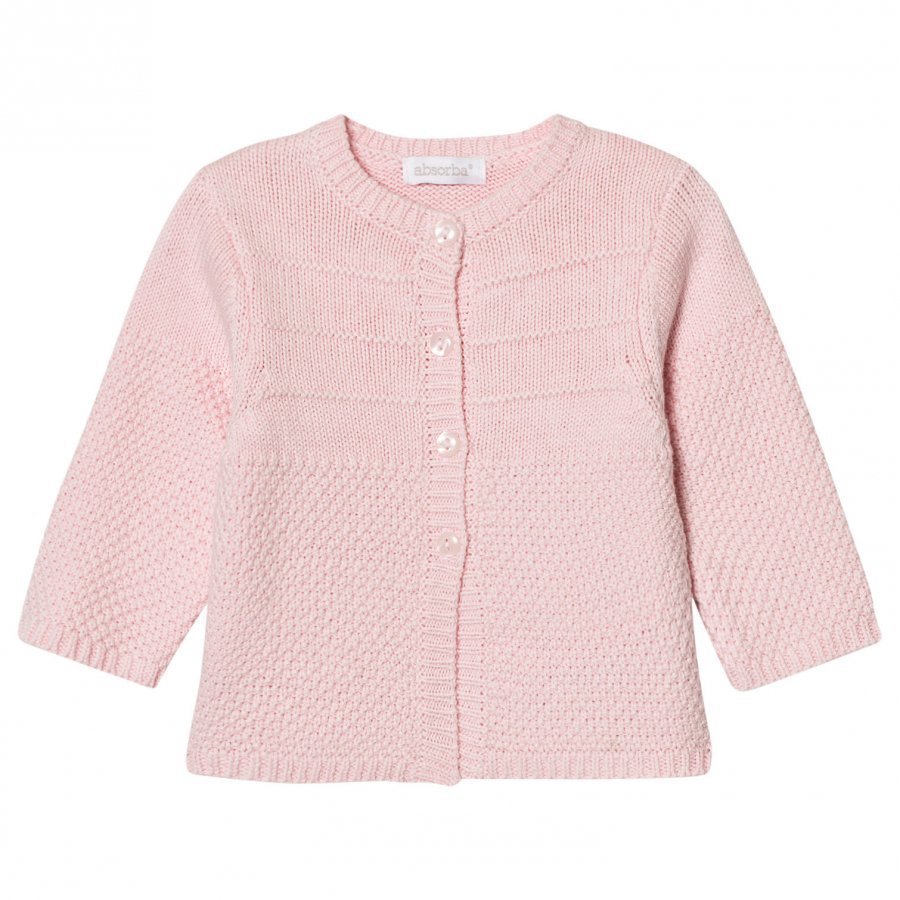Absorba Pale Pink Cashmere-Cotton Textured Knit Cardigan Neuletakki