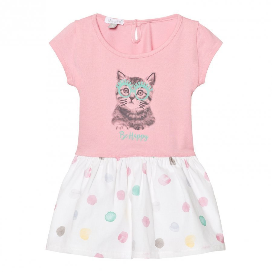 Absorba Pink Jersey Cat Print Dress With Spot Skirt Mekko