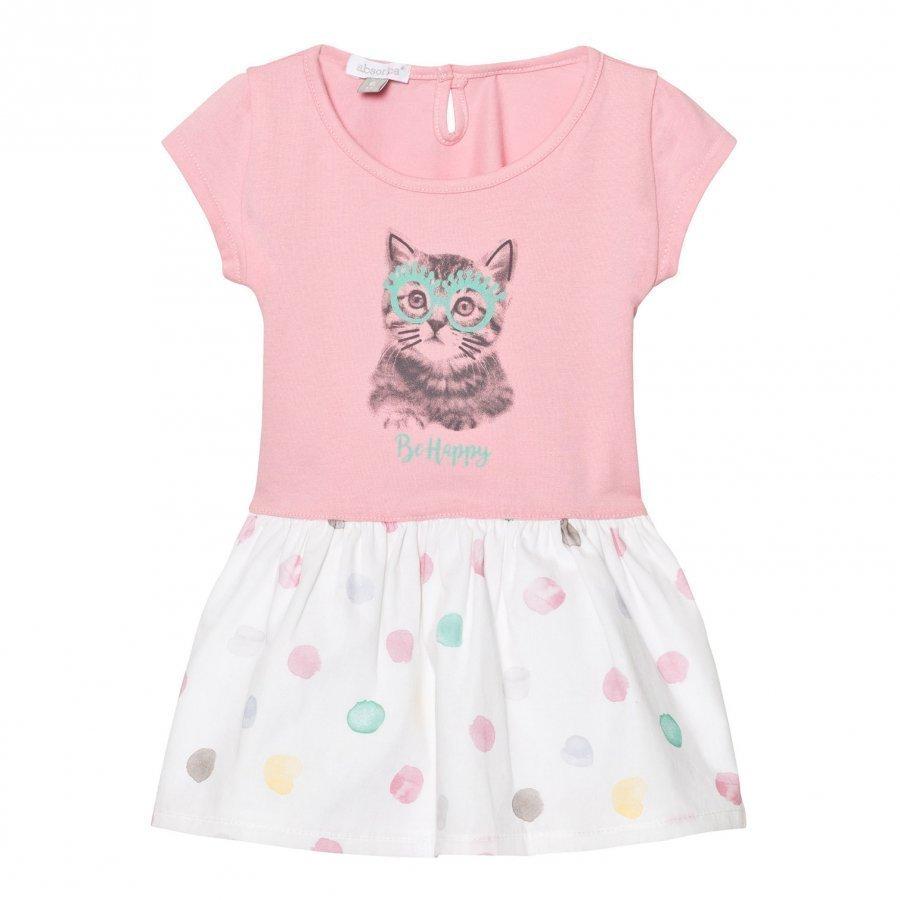 Absorba Pink Jersey Cat Print Dress With Spot Skirt Mekko