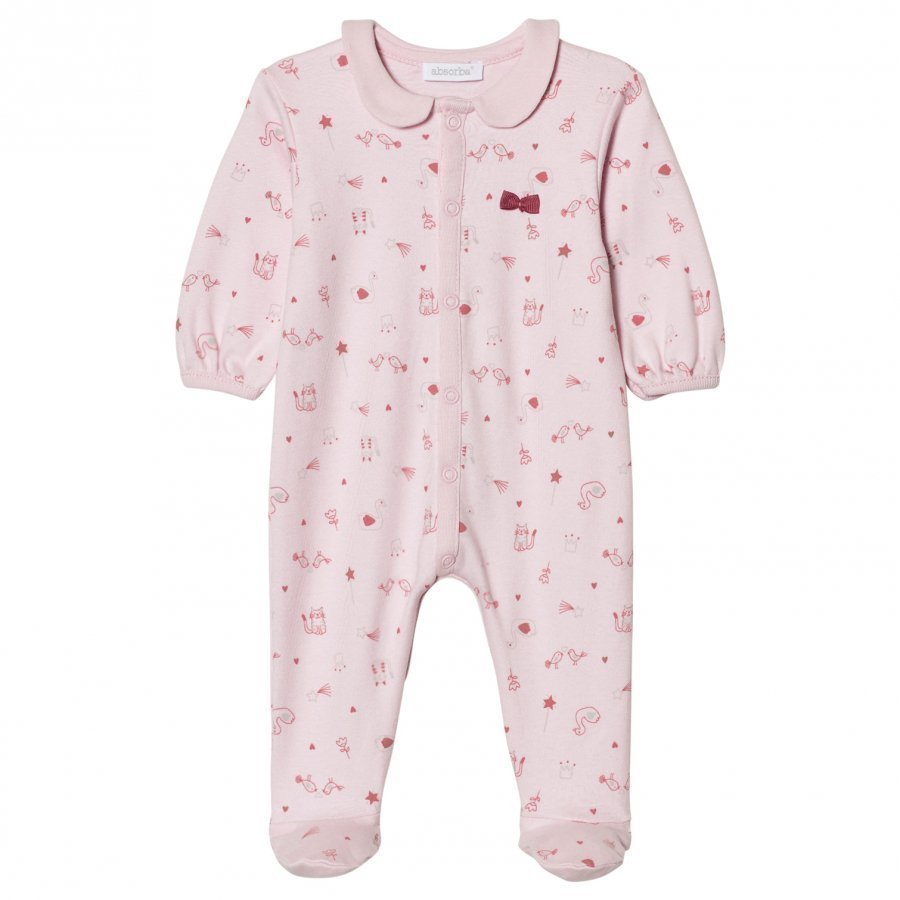 Absorba Pink Swan Bird And Cat Collared Jersey Footed Baby Body
