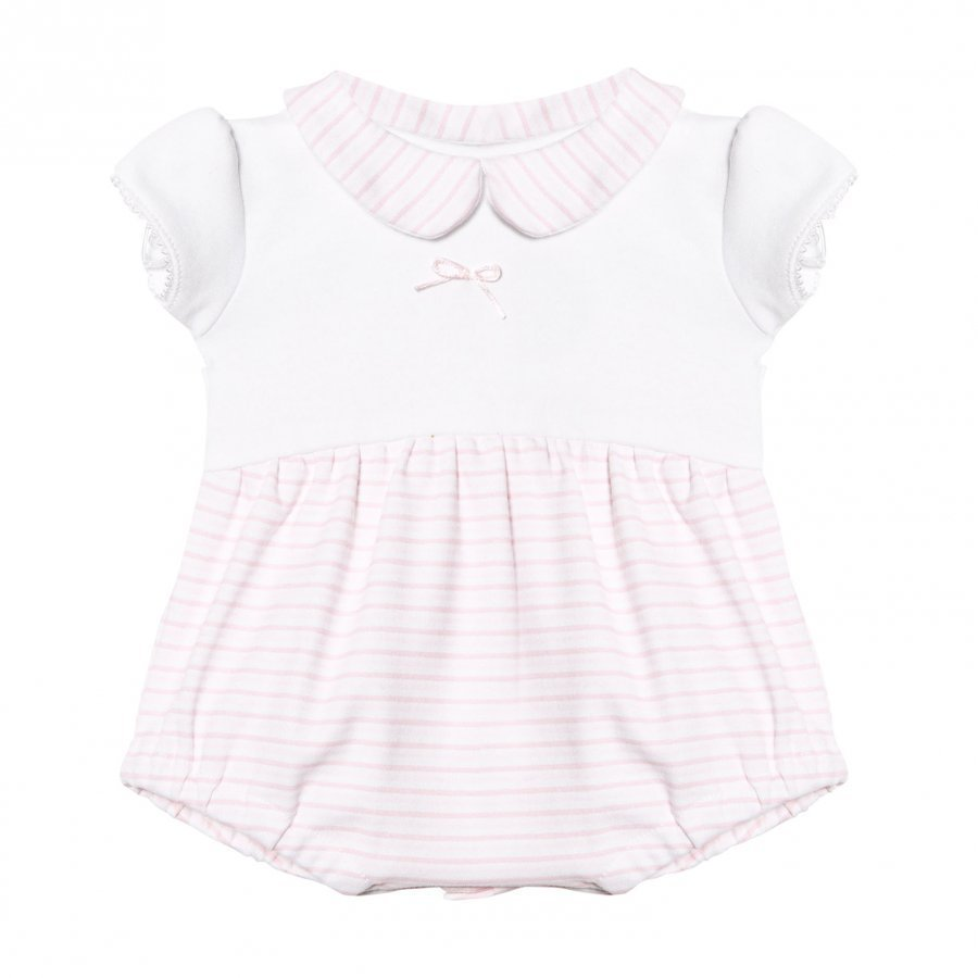 Absorba White And Pink Stripe Collared Jersey Bubble Body