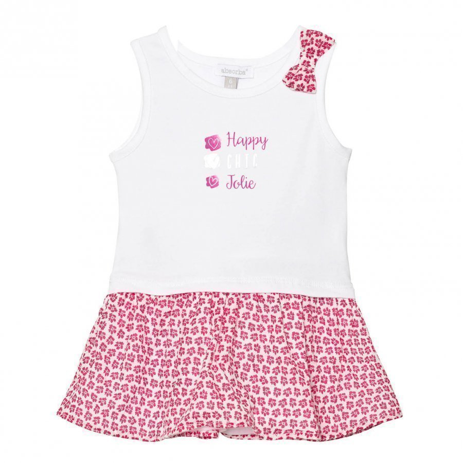 Absorba White Floral Bow Jersey Dress With Floral Pink Skirt Mekko
