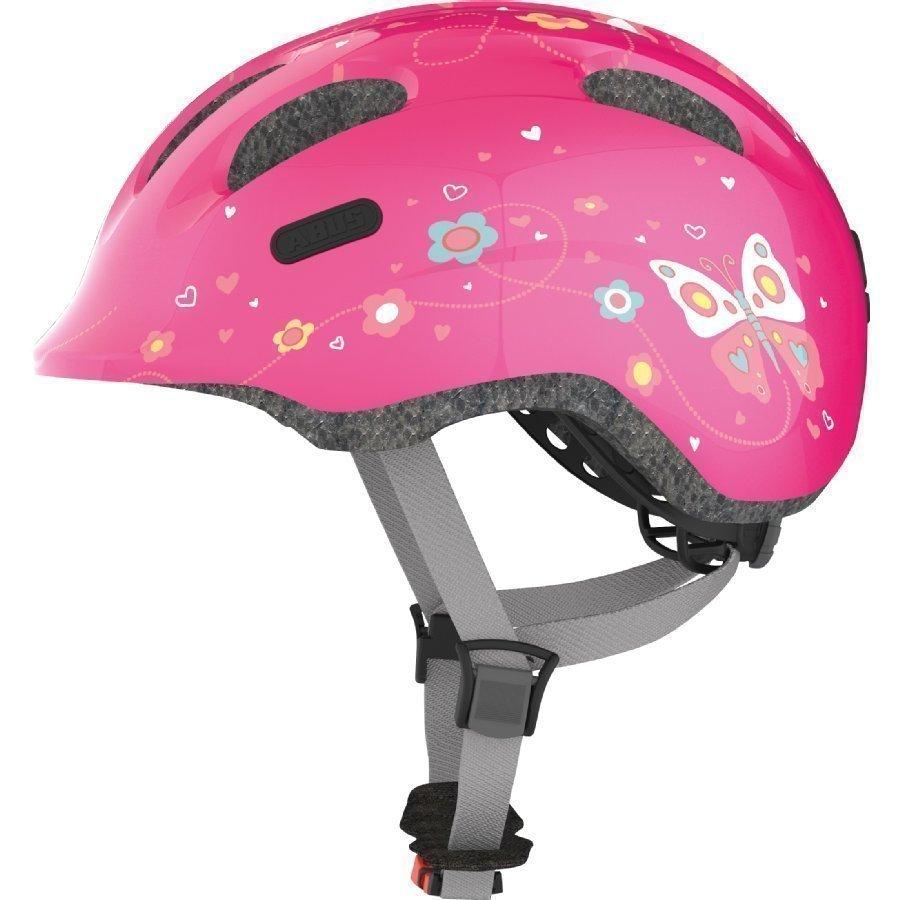 Abus Bundle Smiley 2.0 Lasten Pyöräilykypärä M + Sadesuoja Pink Butterfly