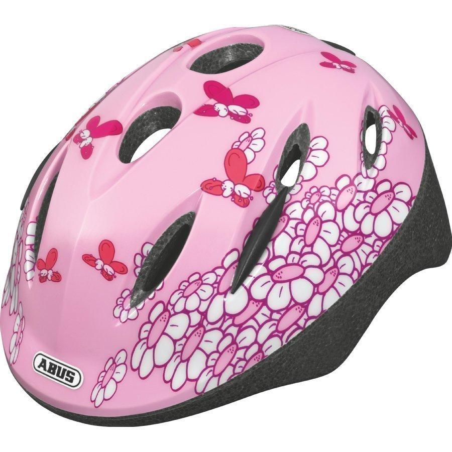 Abus Bundle Smooty Lasten Pyöräilykypärä M + Sadesuoja Pink Butterfly