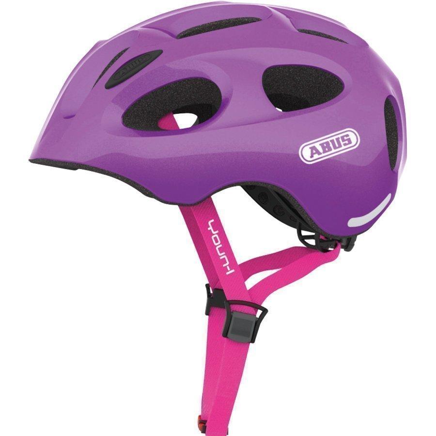 Abus Bundle Youn L Lasten Pyöräilykypärä M + Sadesuoja Sparkling Purple