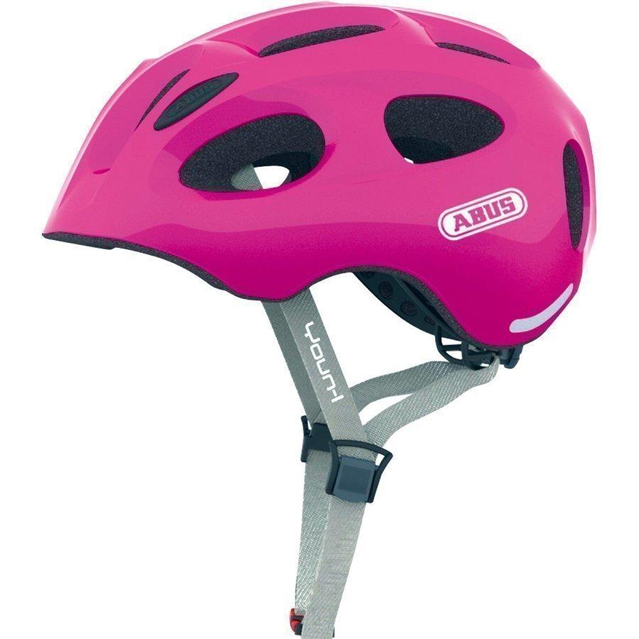 Abus Bundle Youn L Lasten Pyöräilykypärä S + Sadesuoja Sparkling Pink