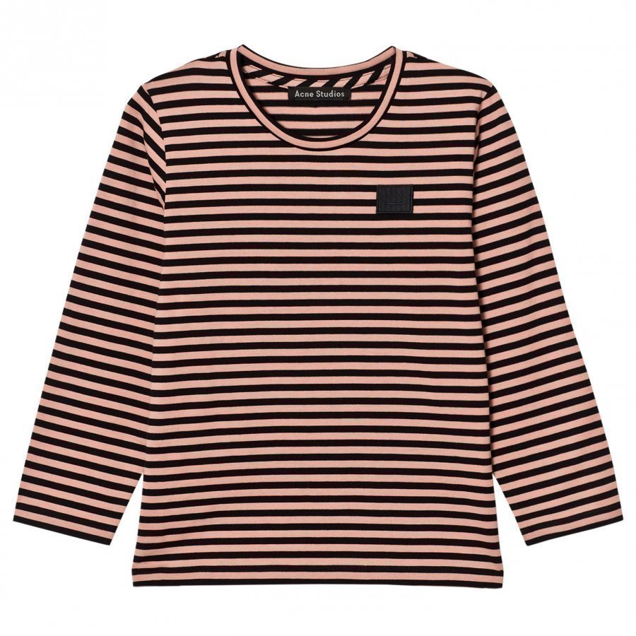 Acne Studios Mini Napa Face Long Tee Pink/Black Pitkähihainen T-Paita