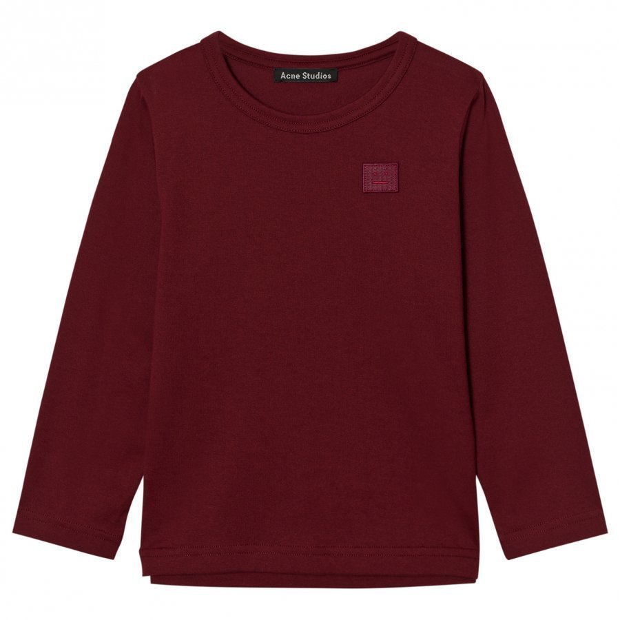 Acne Studios Mini Nash Face Burgundy Long Tee Pitkähihainen T-Paita