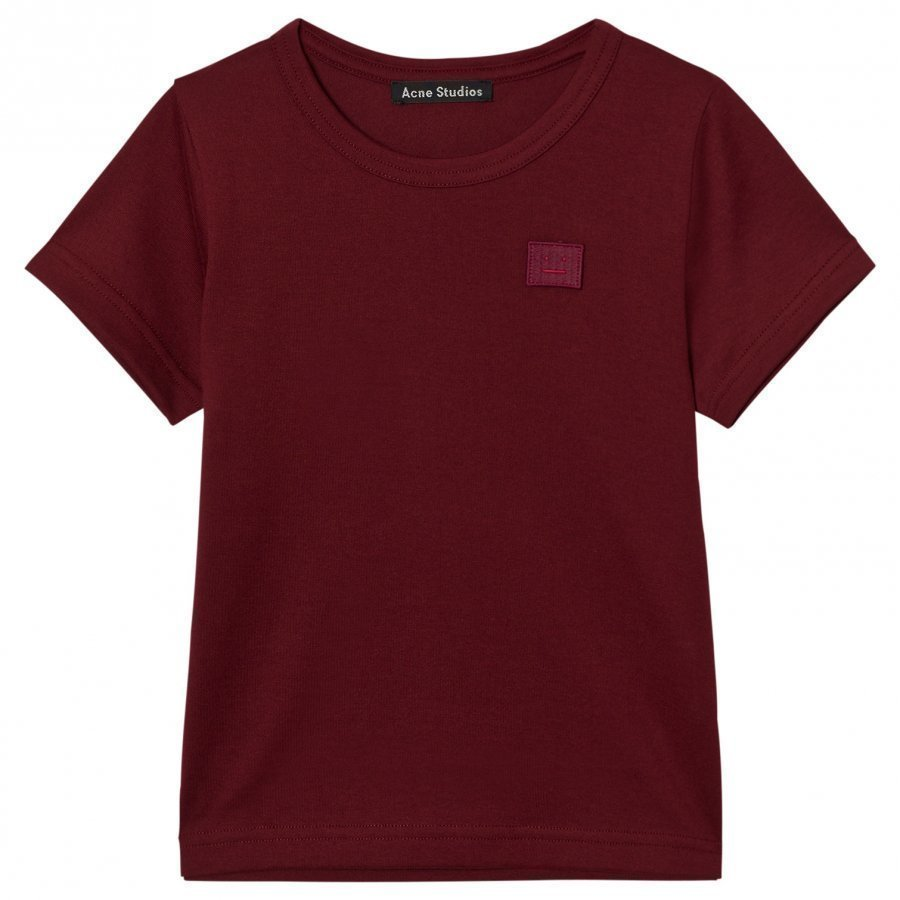 Acne Studios Mini Nash Face Burgundy Short Tee T-Paita