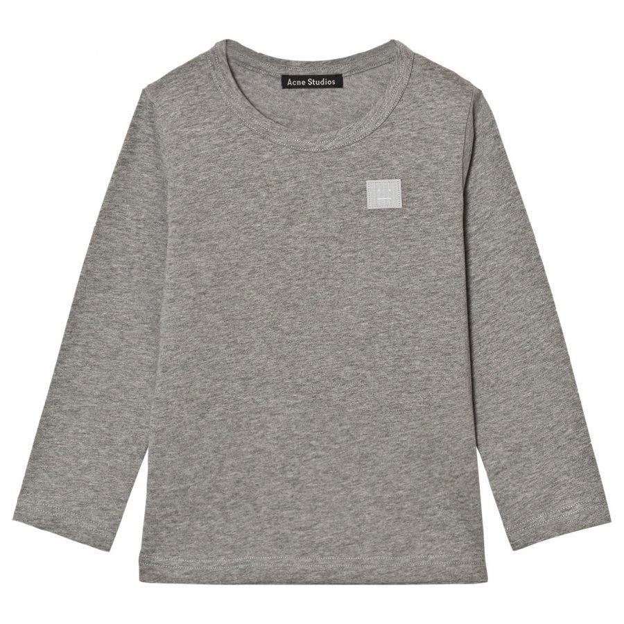 Acne Studios Mini Nash Face Light Grey Melange Long Tee Pitkähihainen T-Paita