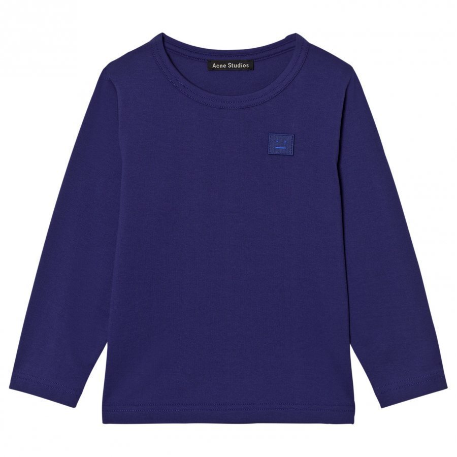 Acne Studios Mini Nash Face Royal Blue Long Tee Pitkähihainen T-Paita
