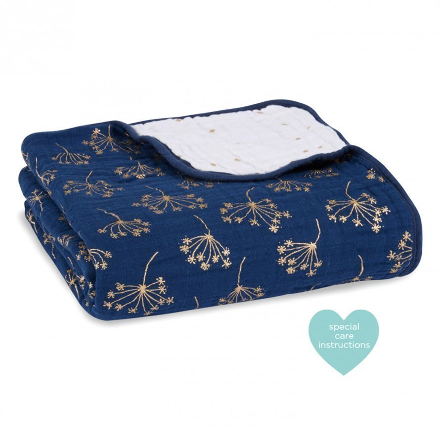 Aden + Anais Navy Metallic Dream Blanket Huopa