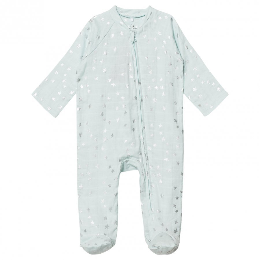 Aden + Anais Pale Blue Silver Star Metallic Footed Baby Body