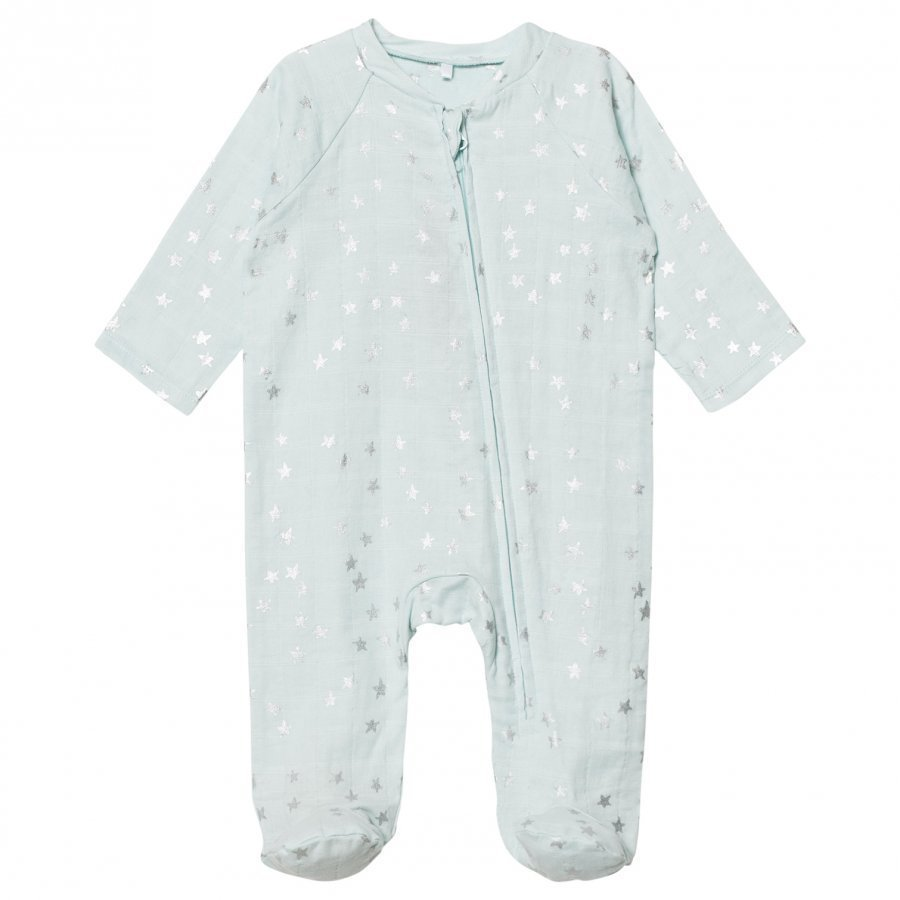 Aden + Anais Pale Blue With Silver Stars Long Sleeve Zipper Metallic Babygrow Body