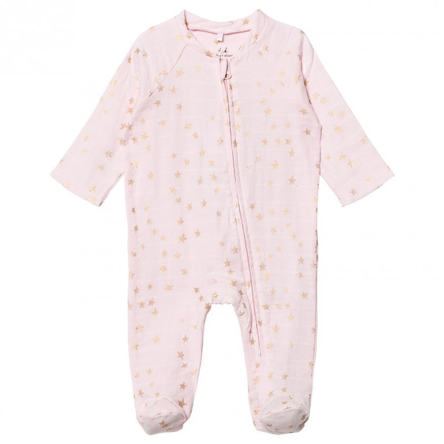 Aden + Anais Pale Pink Footed Baby Body Gold Star Metallic Body