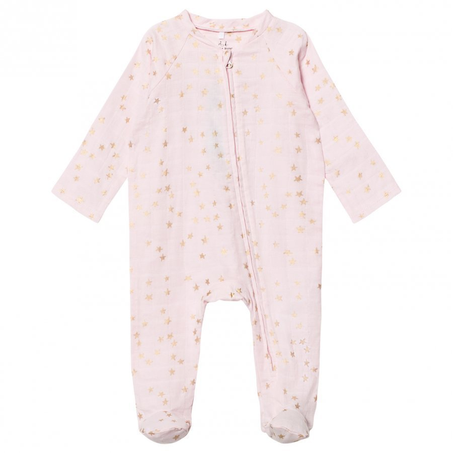 Aden + Anais Pale Pink With Gold Star Long Sleeve Zipper Metallic Babygrow Body