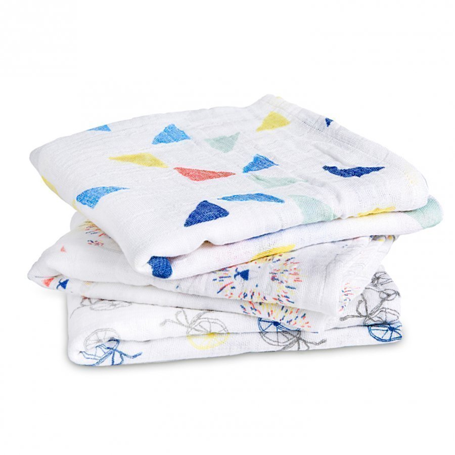 Aden + Anais White And Multicolor Graphic Musy 3 Pack Huopa