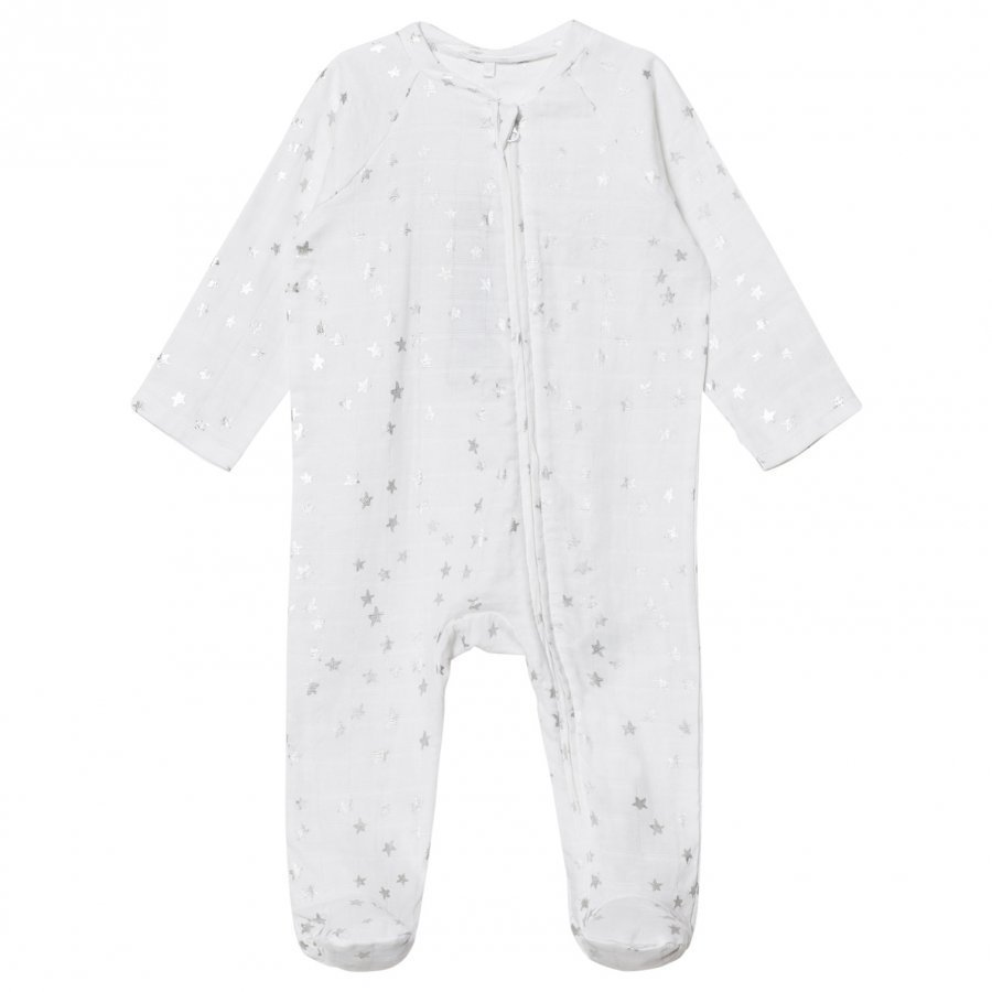 Aden + Anais White Silver Star Metallic Footed Baby Body