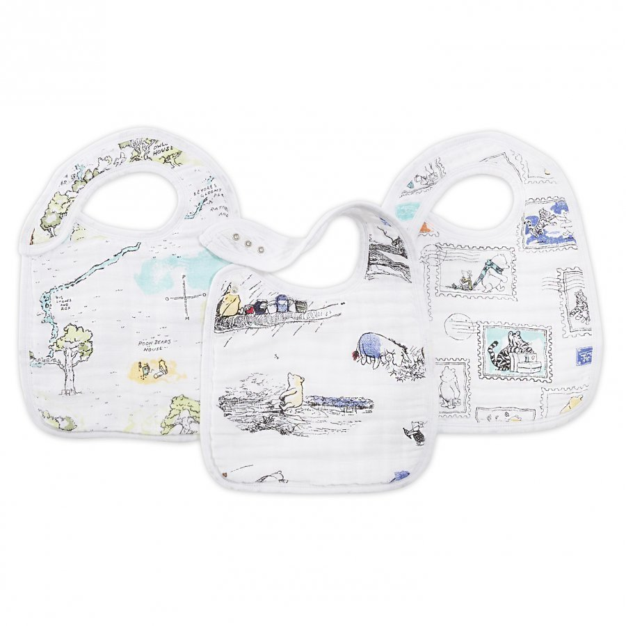 Aden + Anais White Winnie The Pooh Snap Bibs 3 Pack Ruokalappu