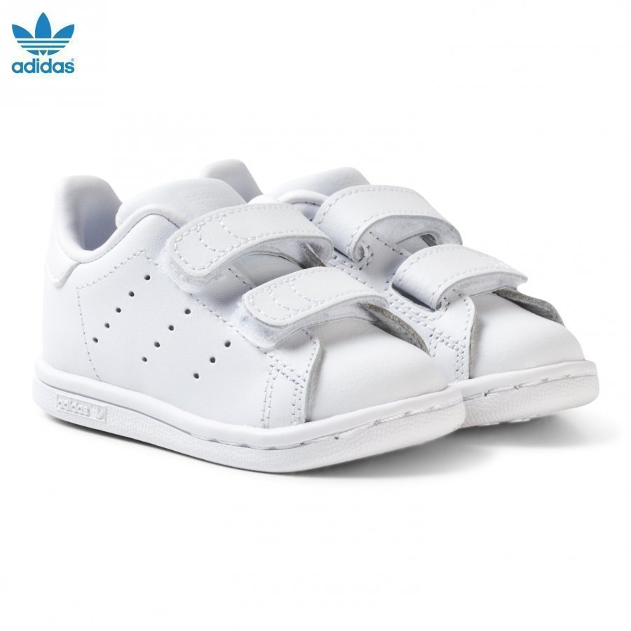 Adidas Originals All White Stan Smith Infants Velcro Sneakers Lenkkarit