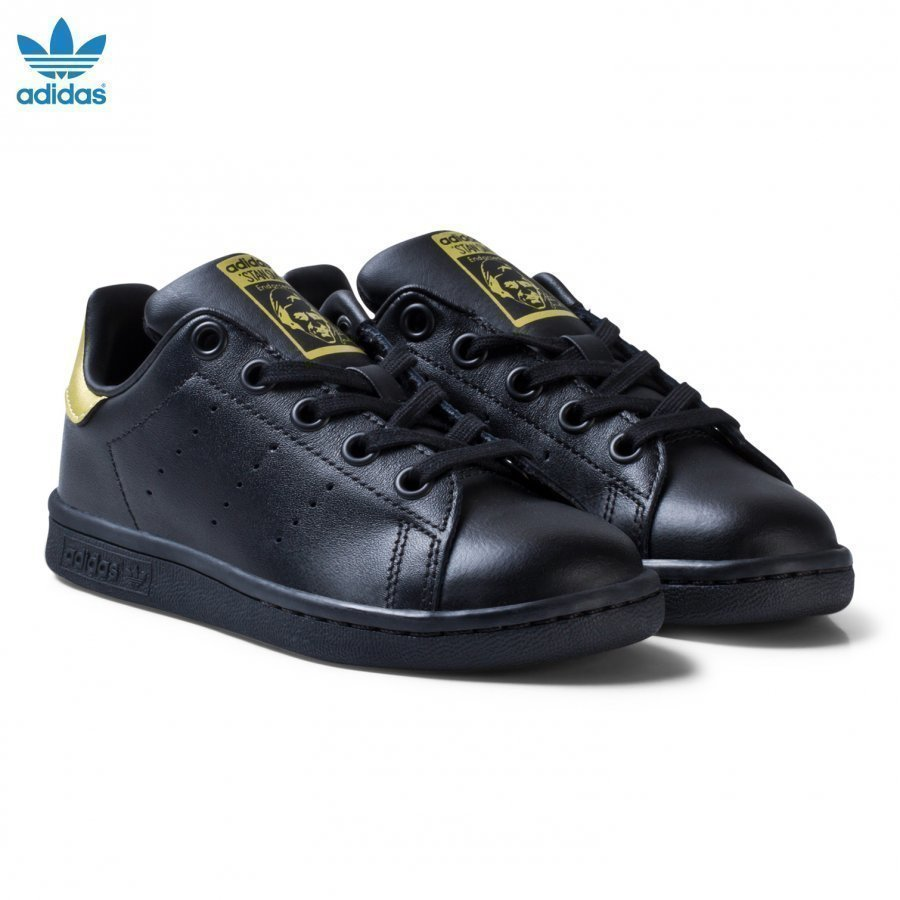 Adidas Originals Black And Gold Stan Smith Kids Trainers Lenkkarit
