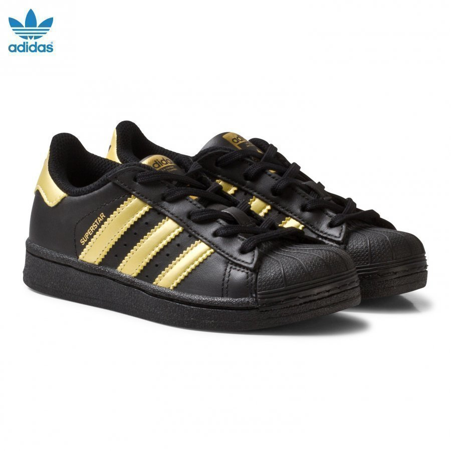 Adidas Originals Black And Gold Superstar Kids Trainers Lenkkarit