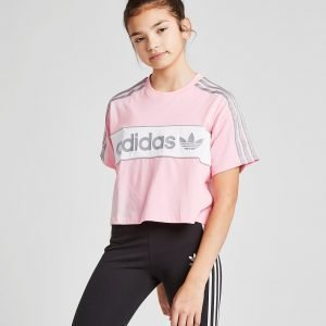 Adidas Originals Girls' Crop Linear T-Shirt Vaaleanpunainen
