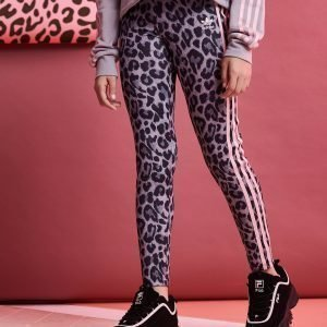Adidas Originals Girls' Leopard All Over Print Leggings Harmaa