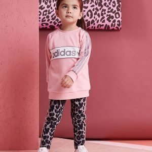 Adidas Originals Girls' Linear Crew Set Infant Vaaleanpunainen