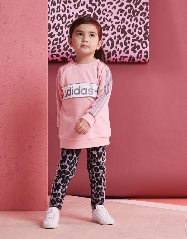 Adidas Originals Girls' Linear Crew Set Infant Vaaleanpunainen
