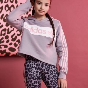 Adidas Originals Girls' Linear Crop Hoodie Harmaa