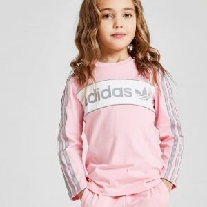 Adidas Originals Girls' Linear Long Sleeve T-Paita Vaaleanpunainen