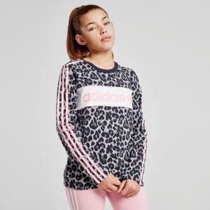 Adidas Originals Girls' Long Sleeve Leopard T-Paita Harmaa